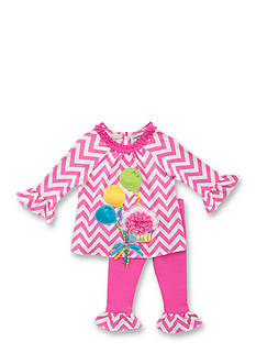 Rare Editions 2-Piece Cupcake Chevron Shirt and Solid Pink Leggings Set