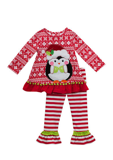Rare Editions 2-Piece Snowflake Penguin Shirt and Pant Set