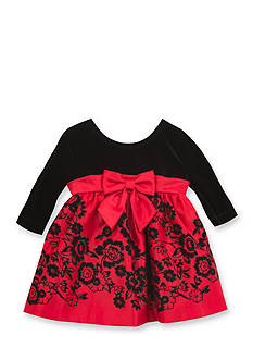 Rare Editions Red Satin Flock Dress with Velvet Bodice