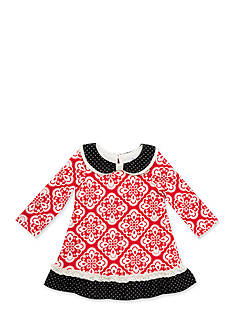 Rare Editions Red and White Geometric Print Dress