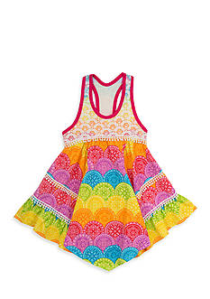 Rare Editions Rainbow Lace Print Dress Toddler Girls
