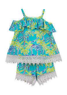 Rare Editions Tropical Cold Shoulder Top and Shorts 2-Piece Set Toddler Girls