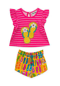 Rare Editions Flip Flop Top and Short 2-Piece Set Toddler Girls