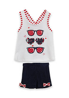 Rare Editions Sunglasses Top and Short 2-Piece Set Toddler Girls