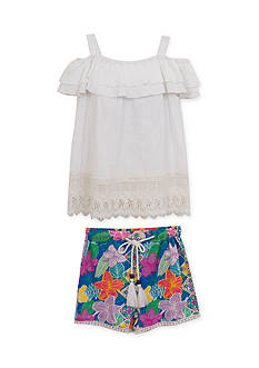 Rare Editions Gauze Cold Shoulder Top and Tropical Short 2-Piece Set Toddler Girls