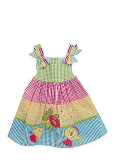Rare Editions Color Block Seersucker Dress