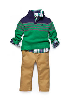 IZOD 3-Piece Sweater, Button Up Shirt, and Pant Set