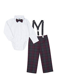 IZOD 4-Piece Plaid Suspender Set