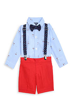 IZOD 4-Piece Bodysuit, Short, Bow Tie, and Suspenders Set