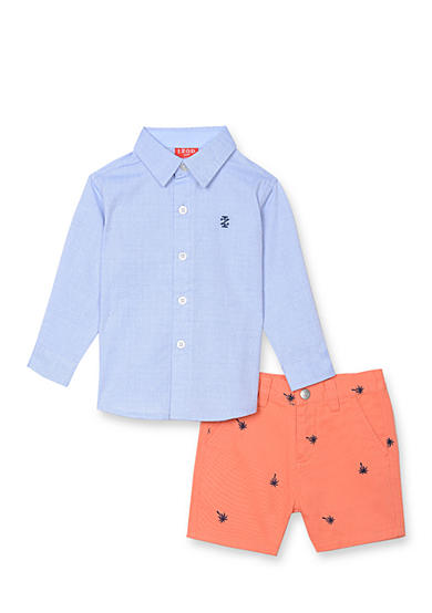 Izod 2 Piece Button Front Shirt And Short Set Toddler Boys