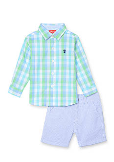 IZOD 2-Piece Button-Front Shirt and Seersucker Short Set Toddler Boys
