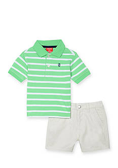 IZOD 2-Piece Stripe Polo and Short Set Toddler Boys