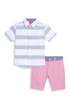 IZOD 2-Piece Palm Woven Button-Front Shirt Set Toddler Boys