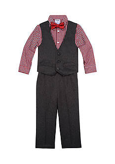 IZOD 4-Piece Dress Shirt, Bow Tie, Vest and Pant Set Toddler Boys
