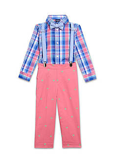 IZOD 4-Piece Plaid Suspenders Set Toddler Boys