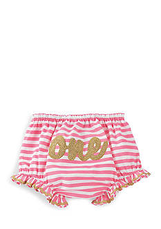 Mud Pie® Stripe Glitter 'One' Cotton Bloomer