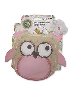 Little Me 2-Piece Owl Bib and Pacifier Holder Set