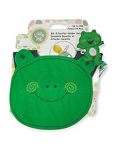 Little Me 2-Piece Frog Bib and Pacifier Holder Set