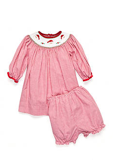 Petit Ami 2-Piece Bloomer and Santa Embroidered Smock Dress Baby/Infant Girl