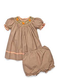 Petit Ami Check Patterned Pumpkin Smock Dress