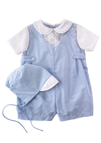Petit Ami Gingham Romper with Hat - Newborn