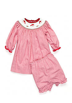 Petit Ami Santa Smock Dress Set