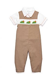 Petit Ami Check Patterned Pumpkin Coverall Baby/Infant Boy