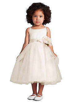 Us Angels® Flower Girl Satin And Tulle Ballerina Dress With Flower- Infant Girls