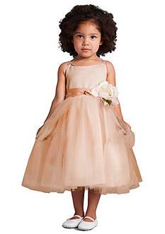 Us Angels Flower Girl Satin And Tulle Ballerina Dress With Flower- Infant Girls