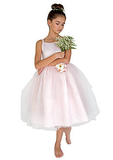 Us Angels Flower Girl Satin And Tulle Ballerina Dress With Flower - Toddler Girls