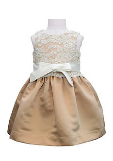 Us Angels® Flower Girl Lace Overlay Satin Dress- Infant Girls