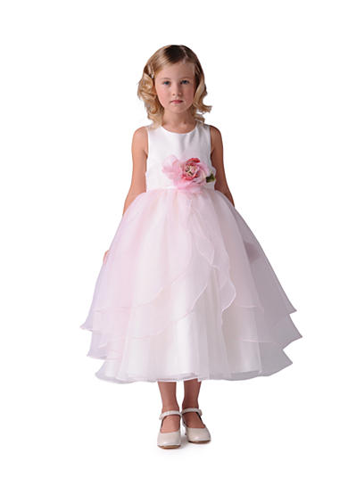 Us Angels Flower Girl Satin And Tulle Layer Organza Tank Dress- Toddler Girls