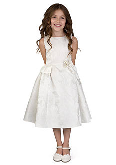 Us Angels® Flower Girl Ballerina Length Sleeveless Brocade princess Bodice Dress With Peplum- Toddler Girls