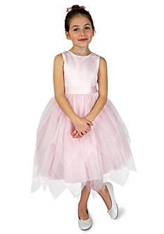 Us Angels® Flower Girl Ballerina Length Dot Netting Sleeveless Tiered Dress With Hanky Hem And Full Skirt- Infant Girls