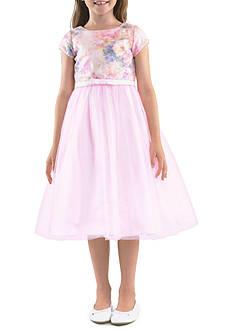 Us Angels Cap Sleeve Sequin Bodice Dress with Netting and Full Skirt Flower Infant Girl Dress