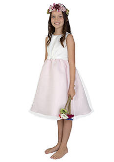 lavender by Us Angels Flower Girl Satin And Organza Sleeveless Pleat Waist With Full Skirt- Toddler Girls