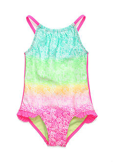 J. Khaki Tropical Doodle 1-Piece Swimsuit Toddler Girls
