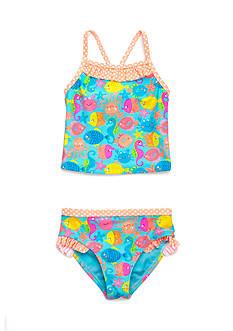 J. Khaki 2-Piece Ocean Zoo Print Tankini Set Toddler Girls