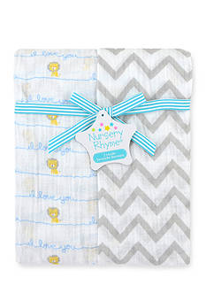 Nursery Rhyme 2-Pack Lion Print Muslin Swaddle Blankets