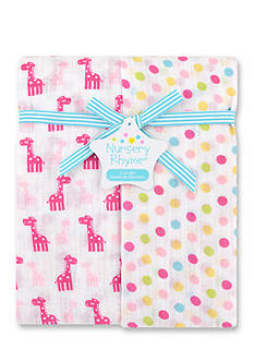 Nursery Rhyme 2-Pack Giraffe and Polka-Dot Muslin Blankets