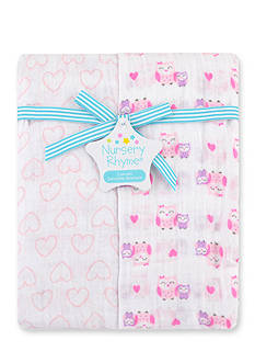 Nursery Rhyme 2-Pack Pink Owl Blankets