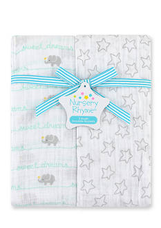 Nursery Rhyme 2-pack Elephant Muslin Swaddle Blankets