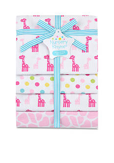 Nursery Rhyme 4-Pack Giraffe Flannel Receiving Blankets Set