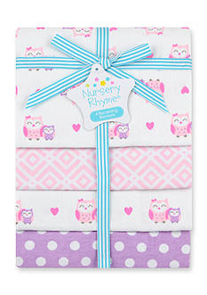 Nursery Rhyme 4-pack Flannel Owl Receiving Blankets