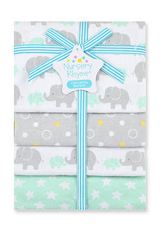 Nursery Rhyme 4-Pack Flannel Receiving Blankets