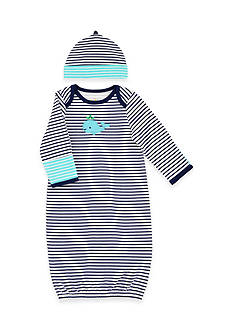 Nursery Rhyme 2-Piece Stripe Gown and Hat Set with Whale Applique