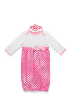 Nursery Rhyme 2-Piece Polka Dot Gown and Headband Set