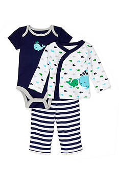 Nursery Rhyme 3-Piece Whale Body Suit and Pants Set