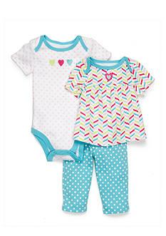 Nursery Rhyme 3-Piece Heart and Polka Dots Pants Set