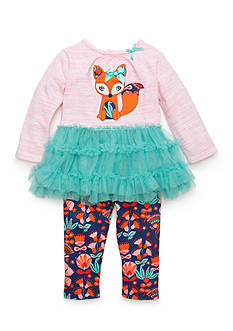 Nursery Rhyme 2-Piece Fox Tutu Shirt and Patterned Leggings Set